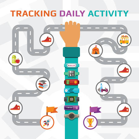 routes: Fitness tracking and walking route vector concept in flat style