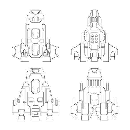 bomber: Vector fantastic space ships set in flat style