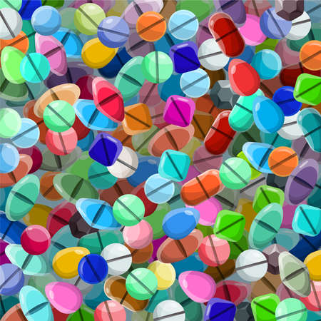 various: Vector background with various medical pills in flat style