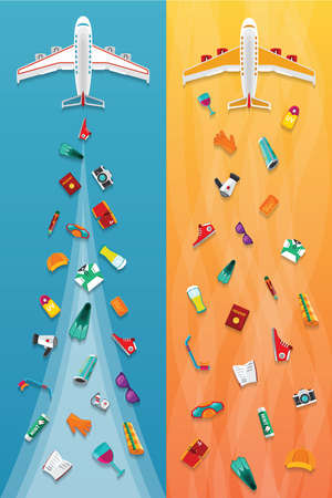 narrow: Airplane travel & tourism narrow vector banners in flat style