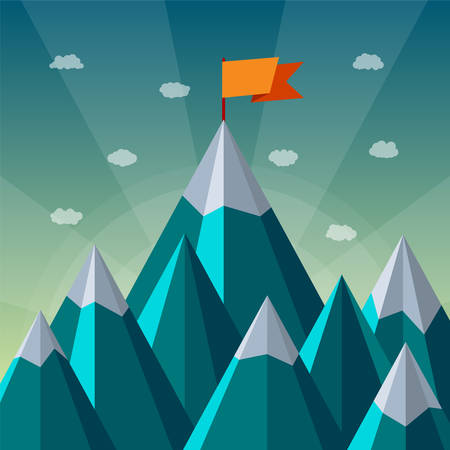 Vector success or leadership concept with mountain landscape