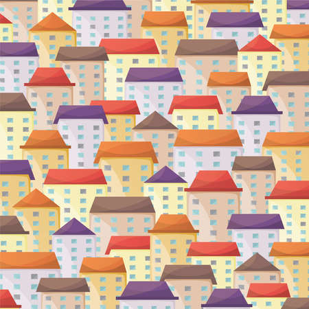 town square: Cityscape vector background in flat style
