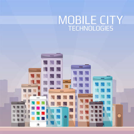 down town: Mobile technologies in the city concept in flat style