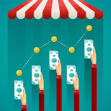 infografía vector de comercio en línea en la tienda de estilo plano