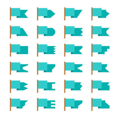 Set of vector flags and banners in flat style
