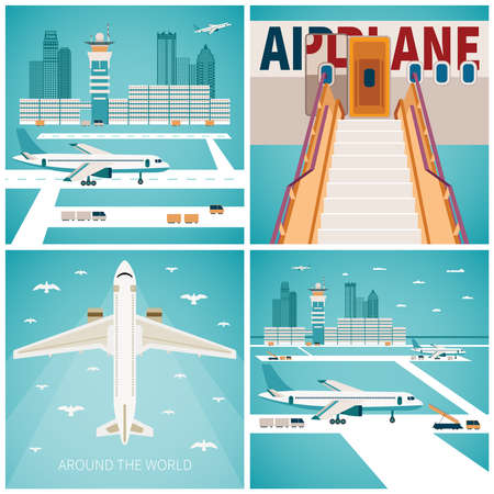 transportation facilities: Airport vector concepts set in flat style