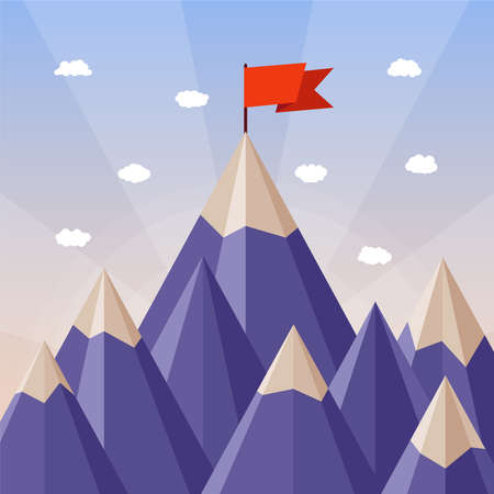 vertex: Vector success or leadership concept with mountain landscape