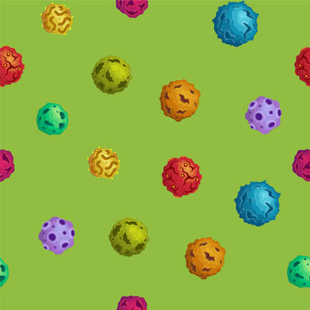 planetoid: Vector cartoon asteroids seamless background in flat style