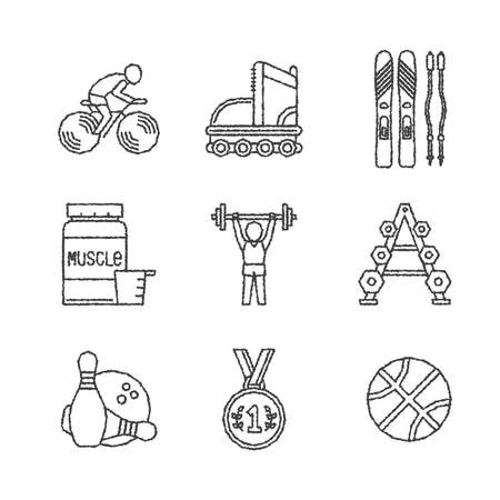 gainer: Set of vector sport icons in sketch style Illustration