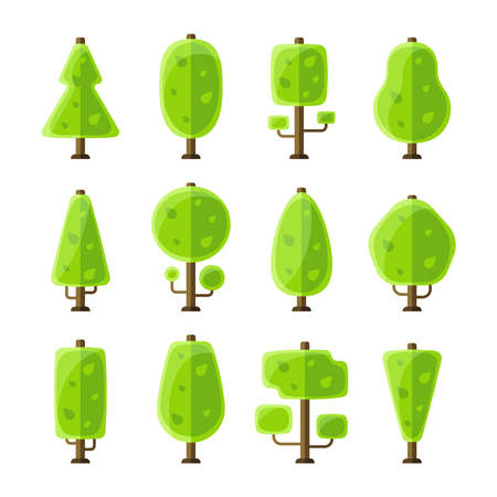 flat: Flat vector trees set in flat style