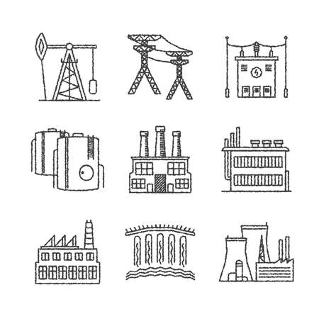 plant stand: Set of vector industrial icons in sketch style
