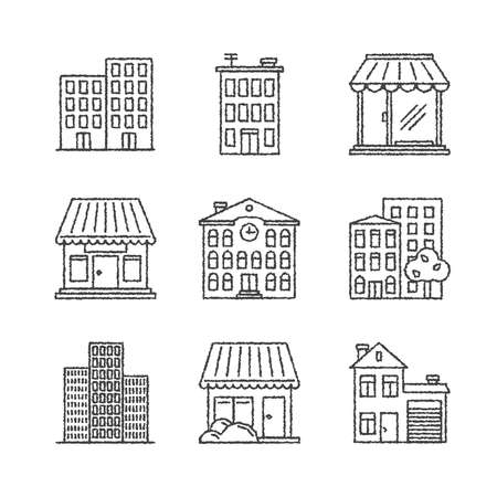 residental: Set of vector building icons in sketch style
