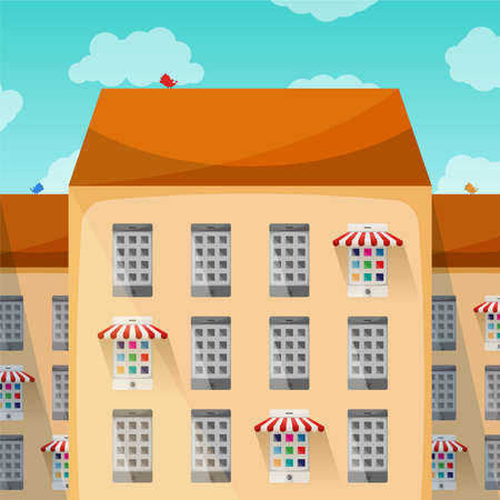 small business: Small business in the city vector concept in flat style Illustration