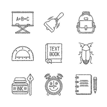 backpack: Set of school icons in sketch style