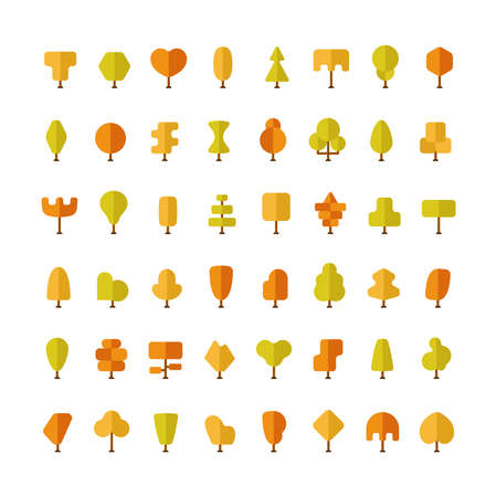 flat: Flat autumn trees bundle in flat style Illustration