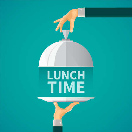 cloche: Lunch time concept with cloche lid cover in flat style Illustration