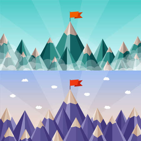 vertex: success and leadership horizontal banners with mountain landscape