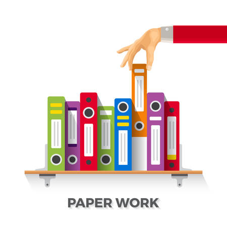 out of context: business papers and folders concept in flat style Illustration