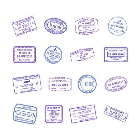 international travel stamps set