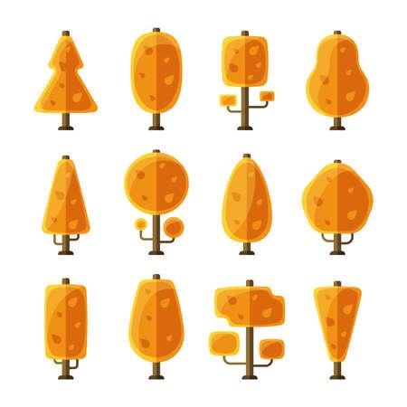 flat: Flat autumn trees set in flat style