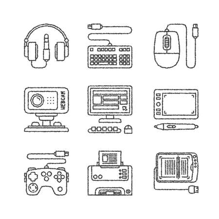 peripherals: Set of electronics icons and concepts in sketch style