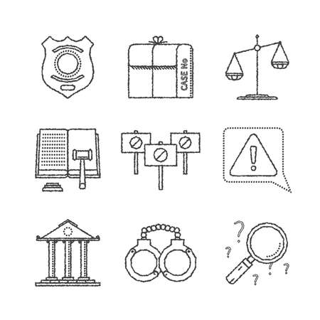 manacles: Set of justice icons and concepts in sketch style Illustration