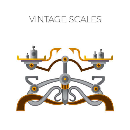 Retro balance scales in flat style Illustration
