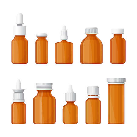 pharmacy pills: Set of medical bottles in flat style