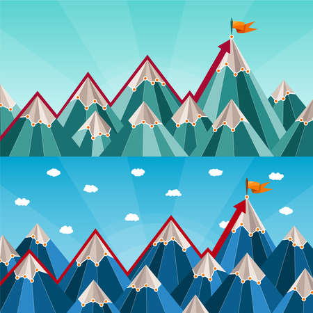 success and leadership horizontal banners with mountain landscape