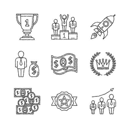 business concepts: Set of business icons and concepts in sketch style Illustration