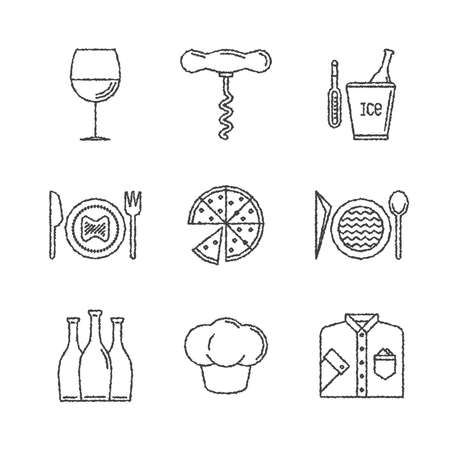 long sleeve: Set of restaurant icons and concepts in sketch style Illustration