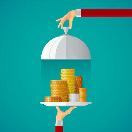 cloche: Money on cloche tray concept in flat style Illustration