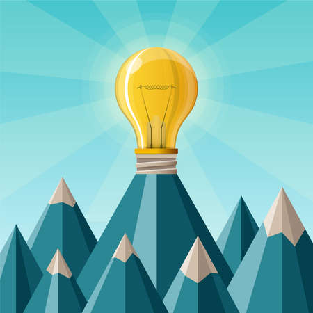 achieve goal: Creative achievement concept with mountain peak in flat style