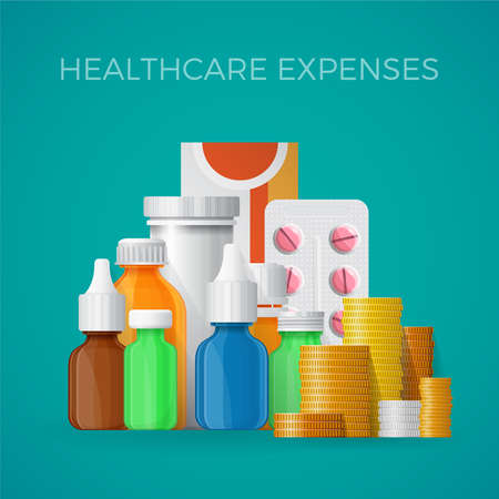 expenses: Healthcare expenses concept in flat style