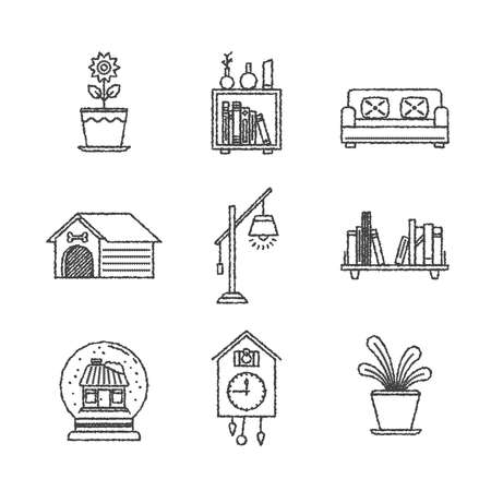 trifles: Set of interior icons and concepts in sketch style