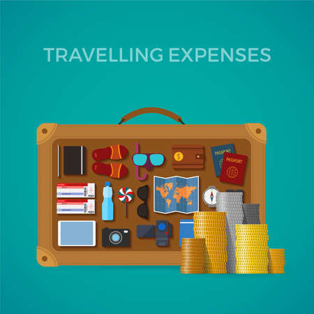 Travel & tourism expenses concept in flat style