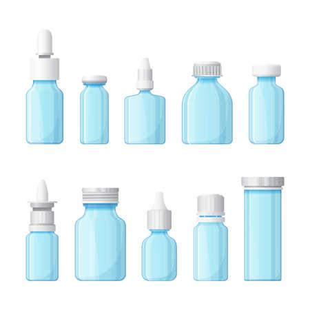 vial: Set of medical bottles in flat style