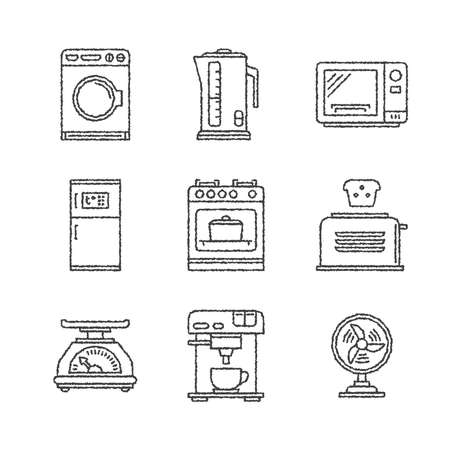 gas stove: Set of household appliances icons and concepts in sketch style