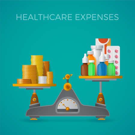 gastos de atención médica con el equilibrio escala el concepto de estilo plano Ilustración de vector