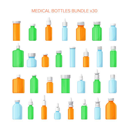 pharmacy pills: Set of different medical bottles in flat style