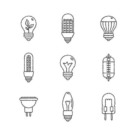 electrics: Set of light bulb icons and concepts in sketch style Illustration