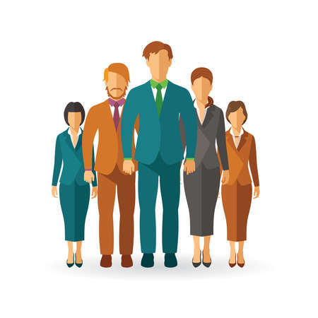 guy standing: Business team concept in flat style