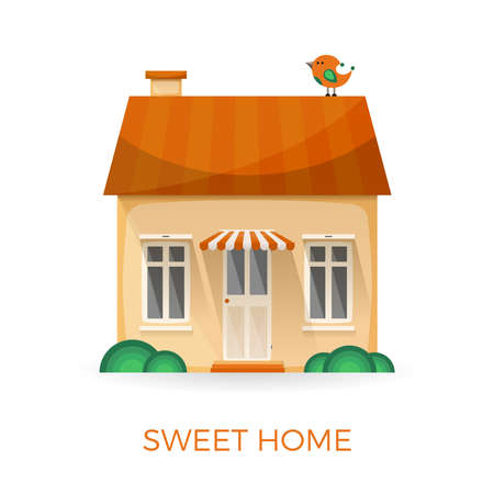 windows home: Sweet home simple concept in flat style
