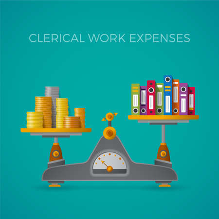 clerical: Clerical work expenses concept in flat style