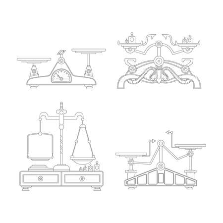 weigher: Retro balance scales set in outline style