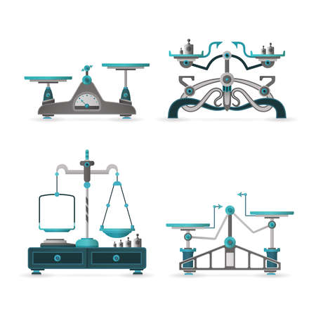 weigher: retro balance scales set in flat style