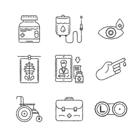doctor exam: Set of medical icons and concepts in sketch style