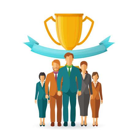 team leadership: Team leadership  concept in flat style
