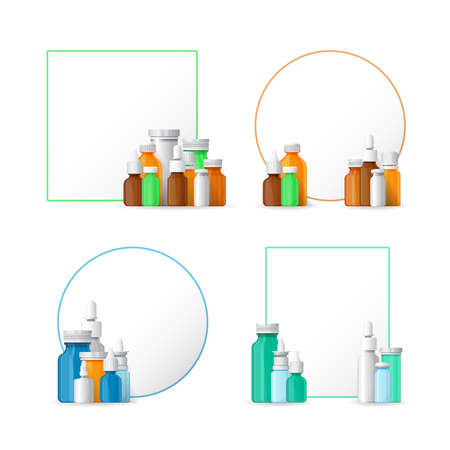medical bottles: pharmacy banners with medical bottles in flat style Illustration