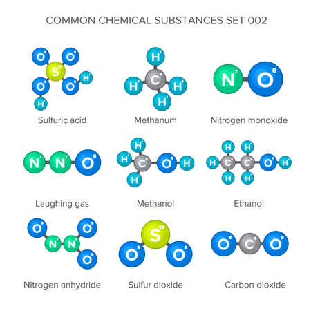 Molecular structures of common chemical substances Illustration